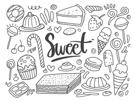 Set of drawings on the theme cakes. Cakes, pies, bread, Desserts, sweets, ice cream, muffin and other confectionery products. vector illustration Vecteurs