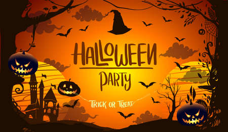 Happy Halloween Poster, night background with creepy pumpkins, illustration. vector elements for banner, greeting card Halloween celebration. Vetores