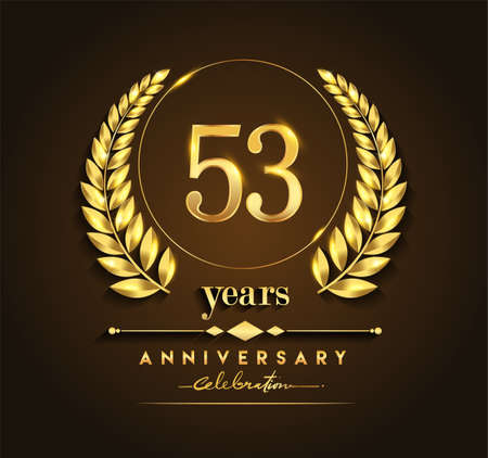 53rd gold anniversary celebration logo with golden color and laurel wreath vector design.