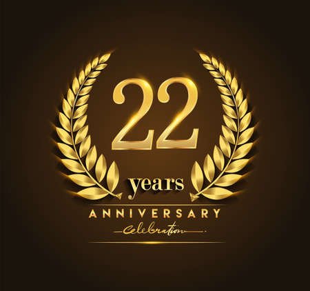 22nd gold anniversary celebration logo with golden color and laurel wreath vector design. 矢量图像