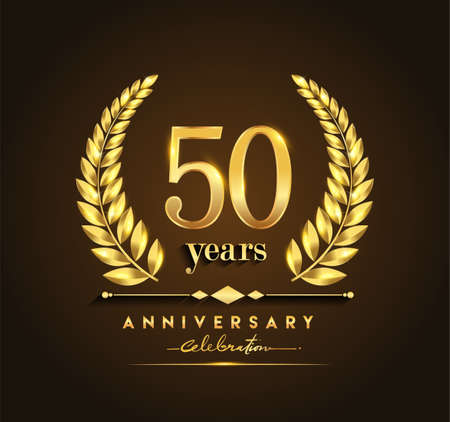 50th gold anniversary celebration logo with golden color and laurel wreath vector design. Logo
