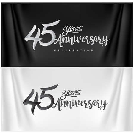 45th Anniversary Celebration Logotype. Anniversary handmade Calligraphy. Vector design for invitation card, banner and greeting card