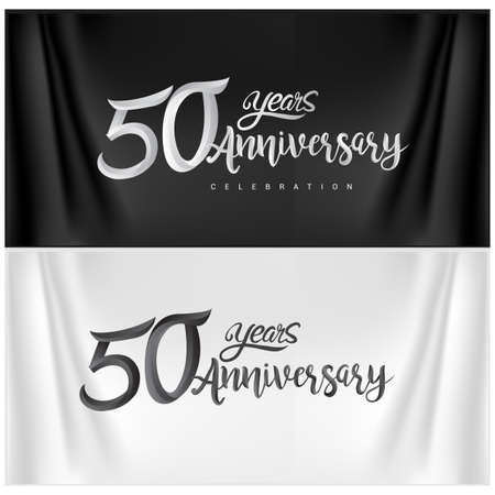 50th Anniversary Celebration Logotype. Anniversary handmade Calligraphy. Vector design for invitation card, banner and greeting card Illusztráció