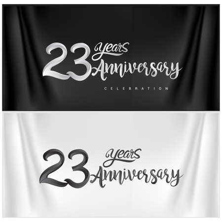 23th Anniversary Celebration Logotype. Anniversary handmade Calligraphy. Vector design for invitation card, banner and greeting card