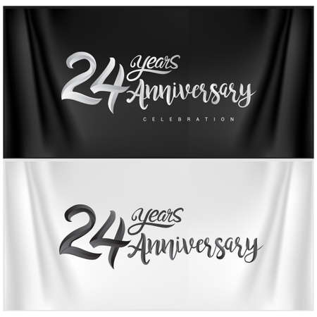 24th Anniversary Celebration Logotype. Anniversary handmade Calligraphy. Vector design for invitation card, banner and greeting card Illusztráció