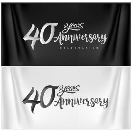 40th Anniversary Celebration Logotype. Anniversary handmade Calligraphy. Vector design for invitation card, banner and greeting card