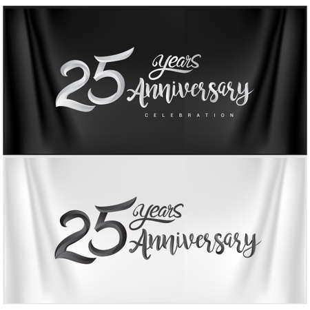 25th Anniversary Celebration Logotype. Anniversary handmade Calligraphy. Vector design for invitation card, banner and greeting card
