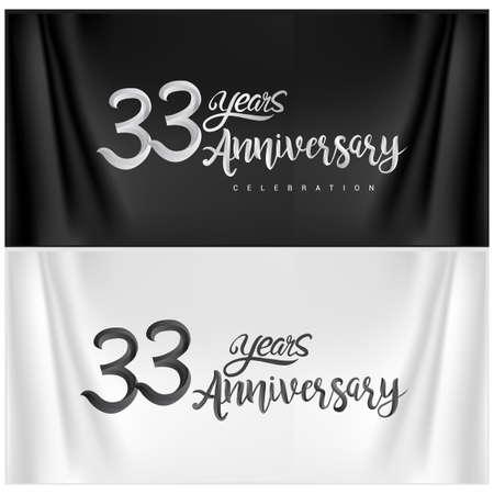 33rd Anniversary Celebration Logotype. Anniversary handmade Calligraphy. Vector design for invitation card, banner and greeting card Illusztráció