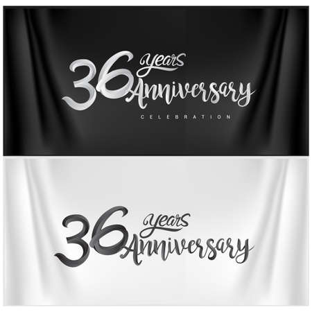 36th Anniversary Celebration Logotype. Anniversary handmade Calligraphy. Vector design for invitation card, banner and greeting card