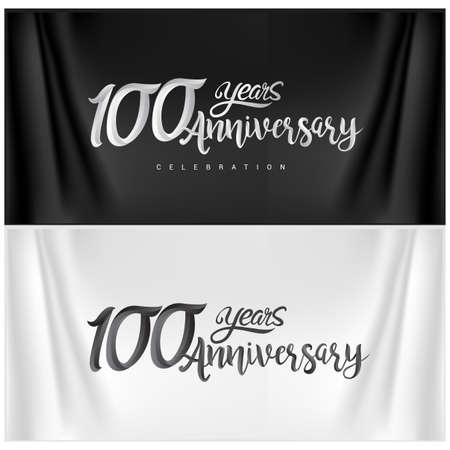 100th Anniversary Celebration Logotype. Anniversary handmade Calligraphy. Vector design for invitation card, banner and greeting card