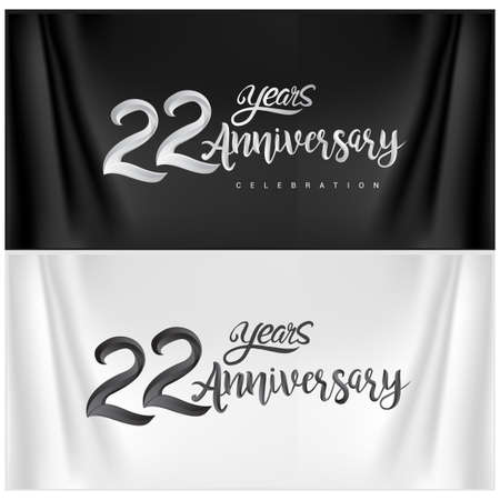 22nd Anniversary Celebration Logotype. Anniversary handmade Calligraphy. Vector design for invitation card, banner and greeting card