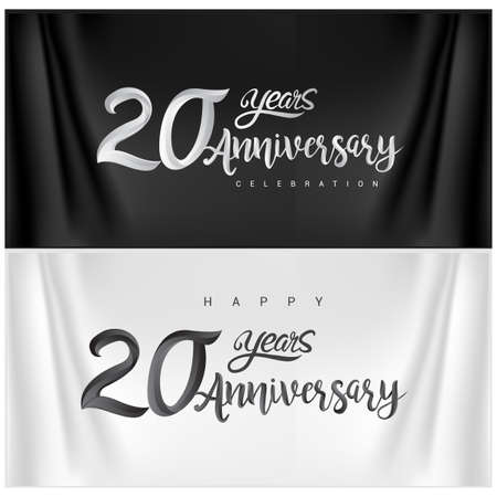 20th Anniversary Celebration Logotype. Anniversary handmade Calligraphy. Vector design for invitation card, banner and greeting card