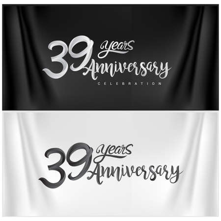 39th Anniversary Celebration Logotype. Anniversary handmade Calligraphy. Vector design for invitation card, banner and greeting card