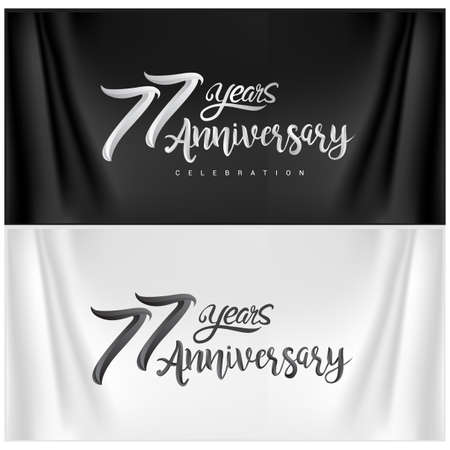 77th Anniversary Celebration Logotype. Anniversary handmade Calligraphy. Vector design for invitation card, banner and greeting card