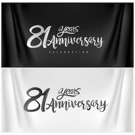 81st Anniversary Celebration Logotype. Anniversary handmade Calligraphy. Vector design for invitation card, banner and greeting card Illusztráció