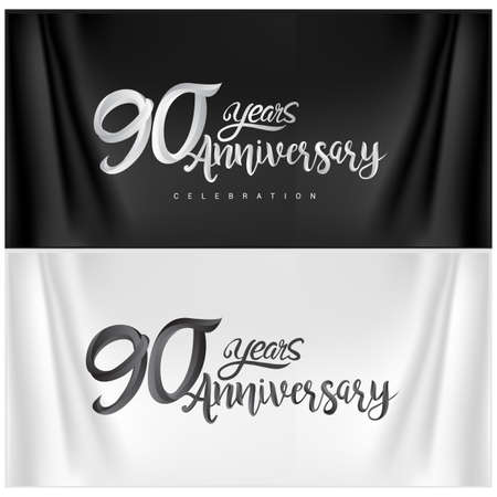 90th Anniversary Celebration Logotype. Anniversary handmade Calligraphy. Vector design for invitation card, banner and greeting card