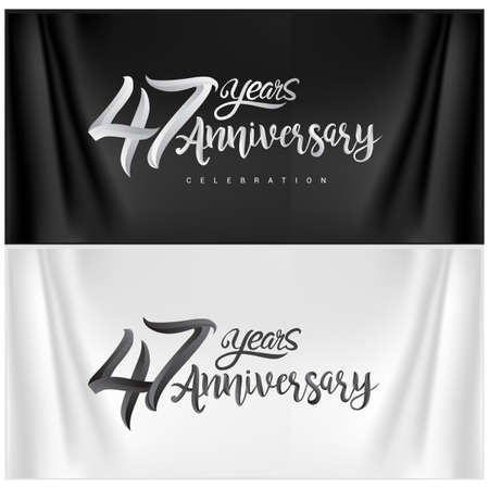 47th Anniversary Celebration Logotype. Anniversary handmade Calligraphy. Vector design for invitation card, banner and greeting card Illusztráció