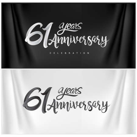 61st Anniversary Celebration Logotype. Anniversary handmade Calligraphy. Vector design for invitation card, banner and greeting card Illusztráció