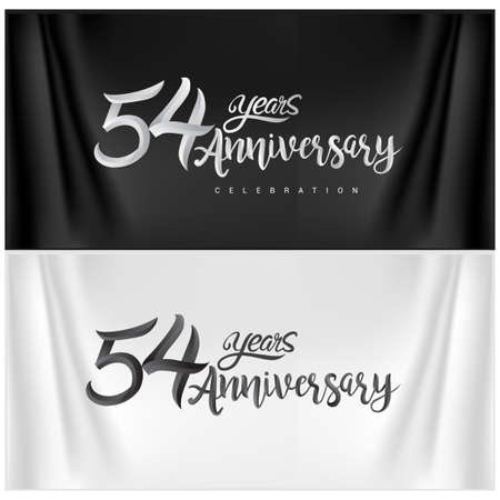 54th Anniversary Celebration Logotype. Anniversary handmade Calligraphy. Vector design for invitation card, banner and greeting card
