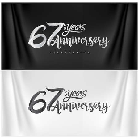 67th Anniversary Celebration Logotype. Anniversary handmade Calligraphy. Vector design for invitation card, banner and greeting card