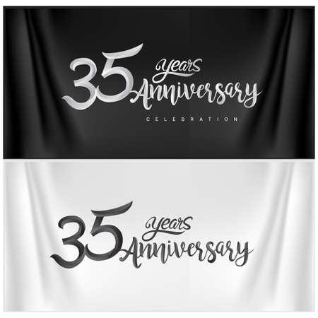 35th Anniversary Celebration Logotype. Anniversary handmade Calligraphy. Vector design for invitation card, banner and greeting card Illusztráció