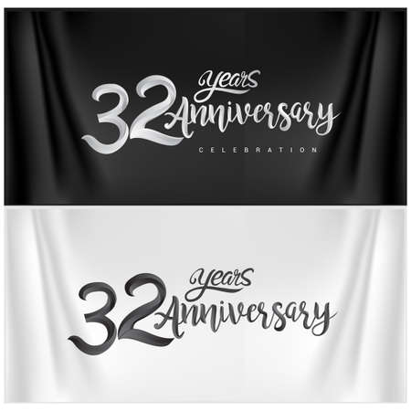 32nd Anniversary Celebration Logotype. Anniversary handmade Calligraphy. Vector design for invitation card, banner and greeting card