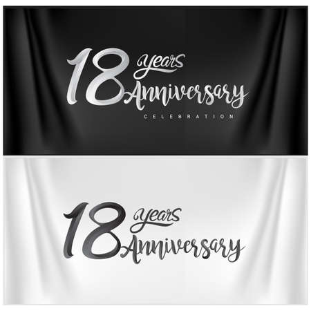 18th Anniversary Celebration Logotype. Anniversary handmade Calligraphy. Vector design for invitation card, banner and greeting card
