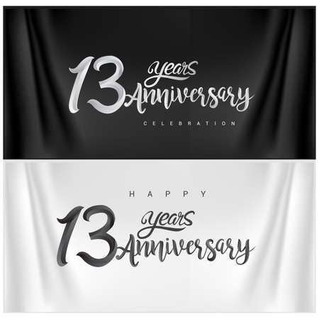 13th Anniversary Celebration Logotype. Anniversary handmade Calligraphy. Vector design for invitation card, banner and greeting card Illusztráció
