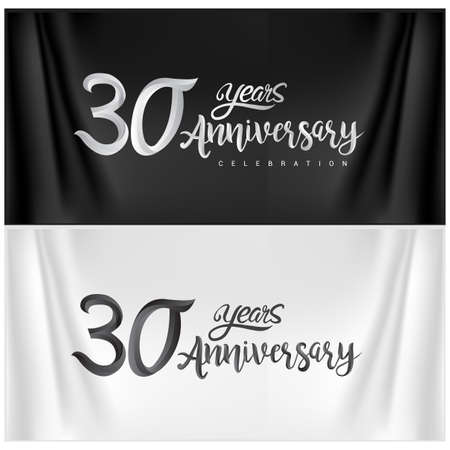 30th Anniversary Celebration Logotype. Anniversary handmade Calligraphy. Vector design for invitation card, banner and greeting card
