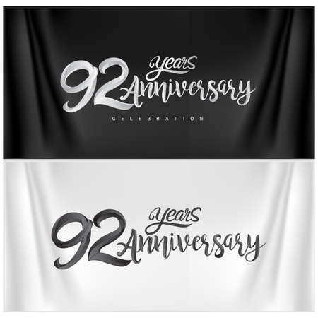 92nd Anniversary Celebration Logotype. Anniversary handmade Calligraphy. Vector design for invitation card, banner and greeting card