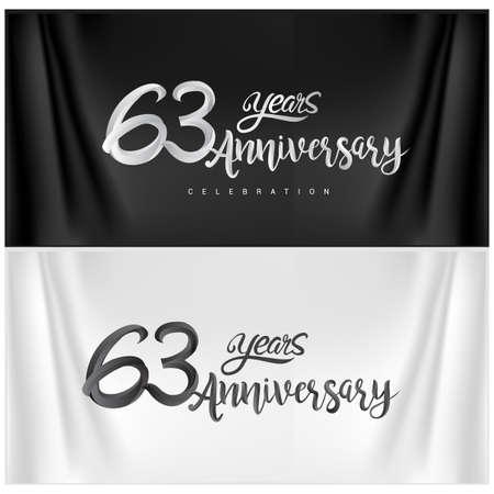 63rd Anniversary Celebration Logotype. Anniversary handmade Calligraphy. Vector design for invitation card, banner and greeting card Illusztráció