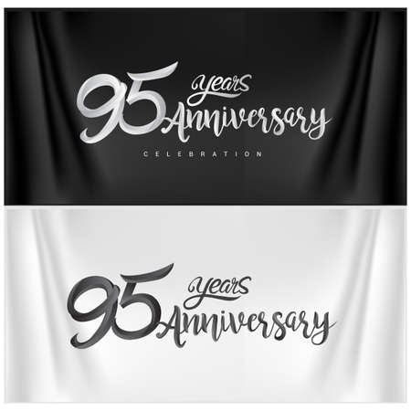 95th Anniversary Celebration Logotype. Anniversary handmade Calligraphy. Vector design for invitation card, banner and greeting card Stock Illustratie