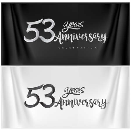 53rd Anniversary Celebration Logotype. Anniversary handmade Calligraphy. Vector design for invitation card, banner and greeting card