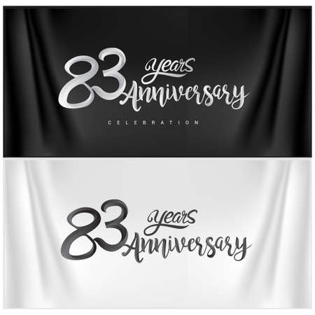 83rd Anniversary Celebration Logotype. Anniversary handmade Calligraphy. Vector design for invitation card, banner and greeting card