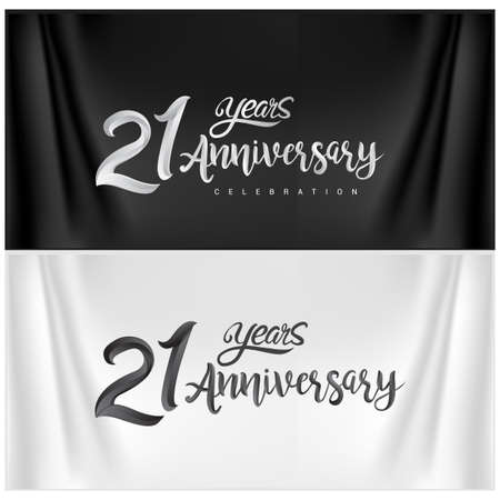 21st Anniversary Celebration Logotype. Anniversary handmade Calligraphy. Vector design for invitation card, banner and greeting card