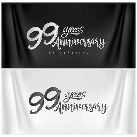 99th Anniversary Celebration Logotype. Anniversary handmade Calligraphy. Vector design for invitation card, banner and greeting card