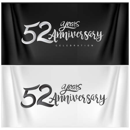 52nd Anniversary Celebration Logotype. Anniversary handmade Calligraphy. Vector design for invitation card, banner and greeting card