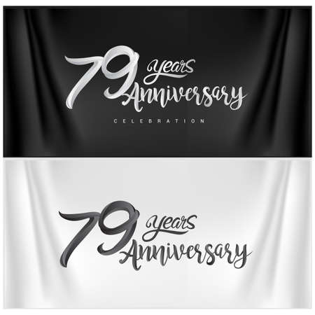 79th Anniversary Celebration Logotype. Anniversary handmade Calligraphy. Vector design for invitation card, banner and greeting card