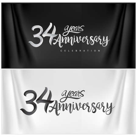 34th Anniversary Celebration Logotype. Anniversary handmade Calligraphy. Vector design for invitation card, banner and greeting card