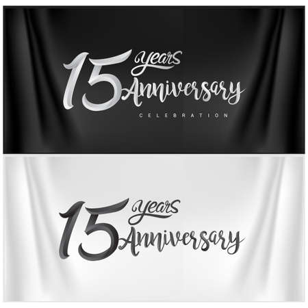 15th Anniversary Celebration Logotype. Anniversary handmade Calligraphy. Vector design for invitation card, banner and greeting card