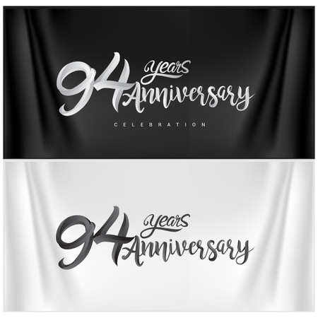 94th Anniversary Celebration Logotype. Anniversary handmade Calligraphy. Vector design for invitation card, banner and greeting card