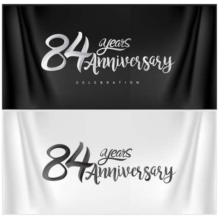 84th Anniversary Celebration Logotype. Anniversary handmade Calligraphy. Vector design for invitation card, banner and greeting card