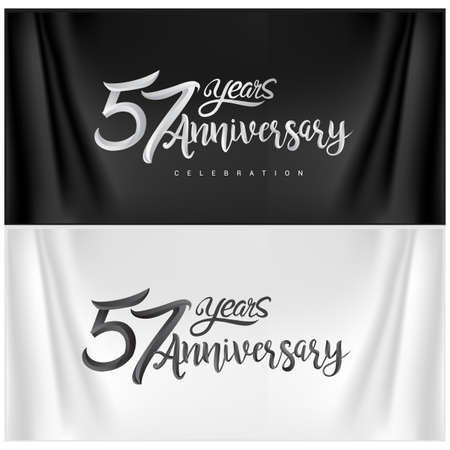 57th Anniversary Celebration Logotype. Anniversary handmade Calligraphy. Vector design for invitation card, banner and greeting card