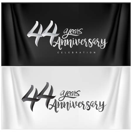 44th Anniversary Celebration Logotype. Anniversary handmade Calligraphy. Vector design for invitation card, banner and greeting card