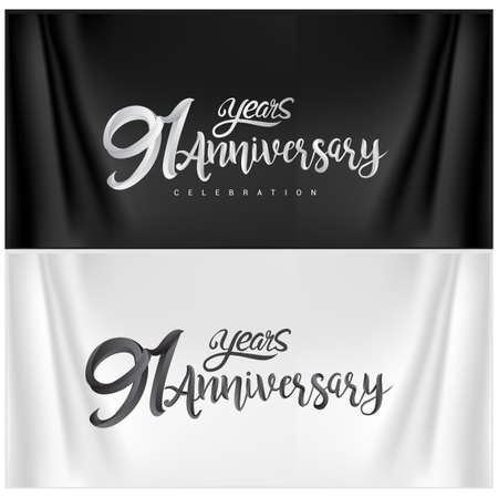 91st Anniversary Celebration Logotype. Anniversary handmade Calligraphy. Vector design for invitation card, banner and greeting card