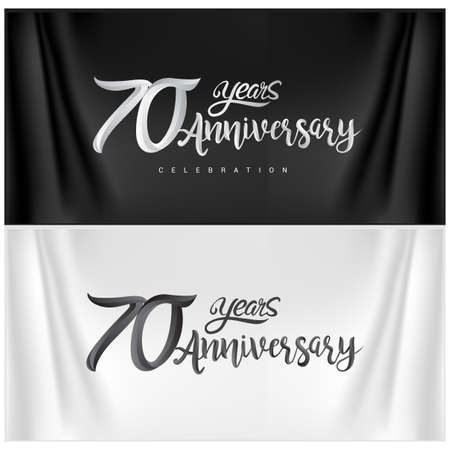 70th Anniversary Celebration Logotype. Anniversary handmade Calligraphy. Vector design for invitation card, banner and greeting card Stock Illustratie