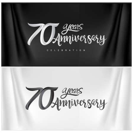 70th Anniversary Celebration Logotype. Anniversary handmade Calligraphy. Vector design for invitation card, banner and greeting card Illusztráció