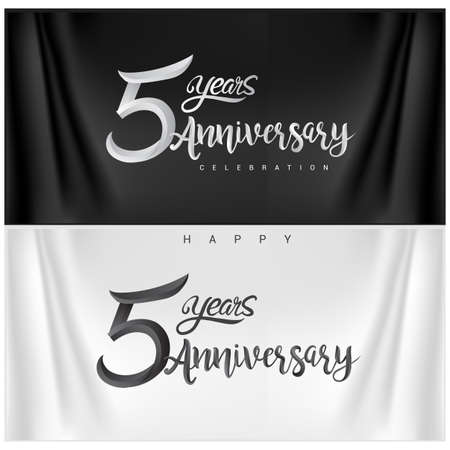 5th Anniversary Celebration Logotype. Anniversary handmade Calligraphy. Vector design for invitation card, banner and greeting card Stock Illustratie