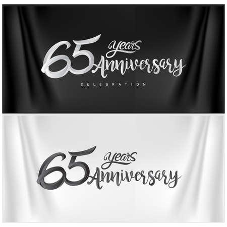 65th Anniversary Celebration Logotype. Anniversary handmade Calligraphy. Vector design for invitation card, banner and greeting card