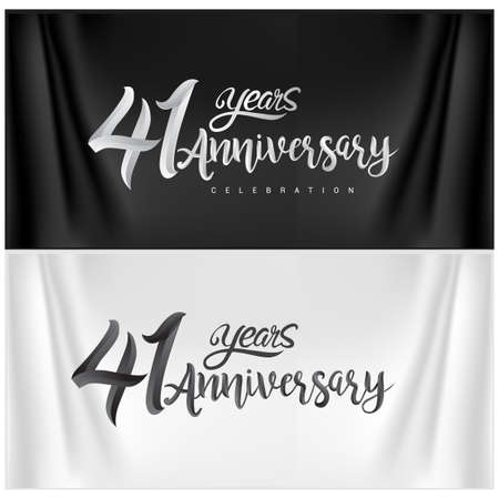 41st Anniversary Celebration Logotype. Anniversary handmade Calligraphy. Vector design for invitation card, banner and greeting card